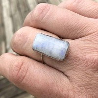 Rectangle Rainbow Moonstone Ring