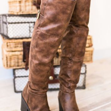 You Knee'd Me Over The Knee Brown Boots