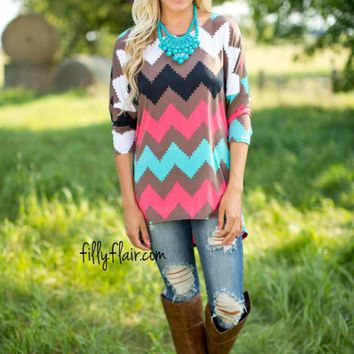 Pixel Perfection Chevron Dolman in Taupe