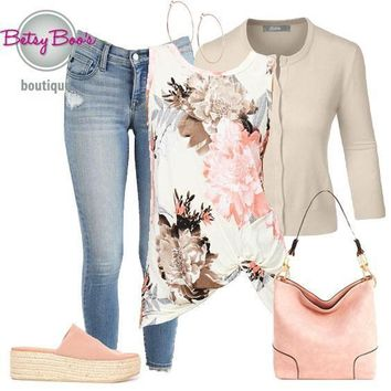 (pre-order) Set 322: Beige Floral Sleeveless Top w/Cardy (incl. top, cardy & earrings)