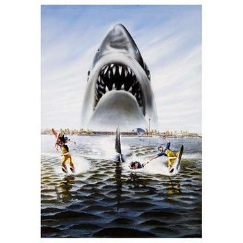 Jaws 3D poster Metal Sign Wall Art 8in x 12in