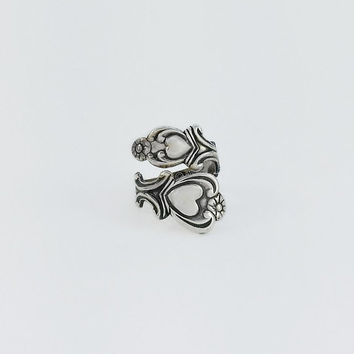 Sterling Spoon Ring - Engraved Spoon Ring - Sterling Heart Ring Size 5 - Vintage Silver Heart Spoon Ring - Vintage Avon Sterling Spoon Ring