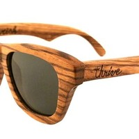 Thrive Shades Mens Flourish Black Wayfarer 48mm Polarized Zebra Wood Sunglasses
