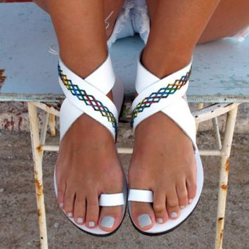 Jandal style mixed color pattern leather sandals  ~ 3 colors!