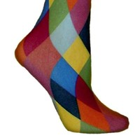 Luxury Divas Harlequin Rainbow Jester Diamond Leotard Tights