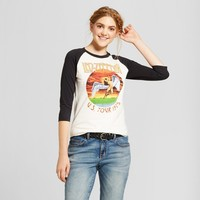 Women's Led Zeppelin Rock Raglan Graphic T-Shirt (Juniors') - White/Black