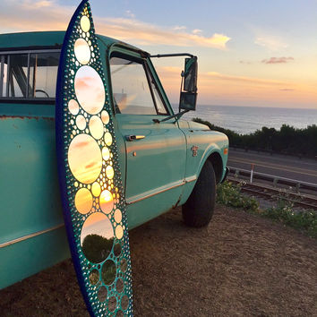 Glass mirror mosaic surfboard - Cardiff