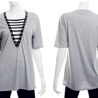 2017 Summer Women Sexy Casual V-Neck Hollow Out Gray T-Shirt Tee Tops [10436857679]