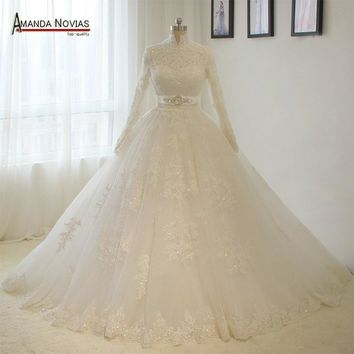 2018 Real Photos Islamic High Neck Long Sleeves Lace Appliques Ball Gown Muslim Wedding Dress