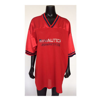 Vintage Nautica Competition Logo Red Football Style Jersey