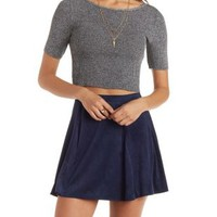 Ribbed Quarter Sleeve Crop Top by Charlotte Russe