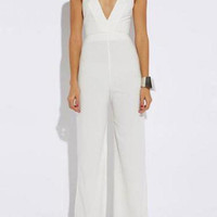 White Cross Strap Detail Plunge Neck Jumpsuit