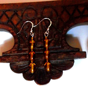 1920s / vintage / art deco /amber / beaded drop earrings