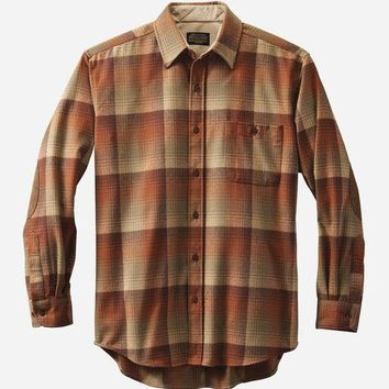 Pendleton - Men's Fitted Elbow-Patch Trail Pumpkin Brown Ombre Shirt