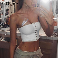 skitzyou Summer Elastic White Cotton Tube Top Front Button Backless Black Bodycon Strapless Crop Top Party Bandeau Tops Cropped