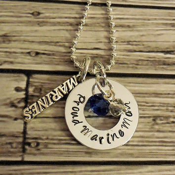 Double Pendant Proud Marine, Army Navy Or Airforce Mom Or Wife Hand Stamped  Keepsake Necklace / Military Mom Or Wife Personalized Necklace