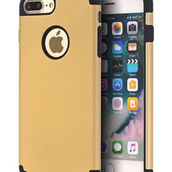iPhone 7 Plus Case,iPhone 8 Plus Case,CaseHQ Extreme Heavy Duty Protective soft rubber TPU PC Bumper Case Anti-Scratch Shockproof Rugged Protection Cover for apple iPhone 7/8 Plus phone Gold/black