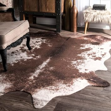 nuLOOM Faux Cowhide Contemporary Rawhide Brown Rug (5'9 x 7'7) | Overstock.com Shopping - The Best Deals on 5x8 - 6x9 Rugs