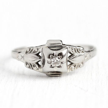 Vintage Diamond Ring - 14k White Gold 1930s Engagement - Size 6 1/4 Art Deco Promise Wedding Bridal Fine Engraved Single Cut Jewelry