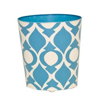 Worlds Away Oval Wastebasket Cream and Blue