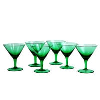 Green Martini Glasses, Vintage Cocktail Stems, Hand Blown Barware
