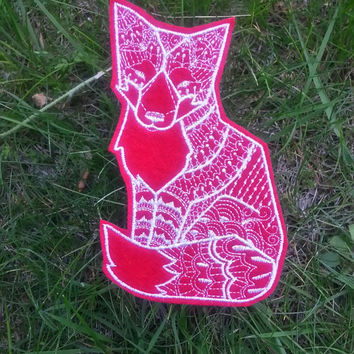 Iron On Patch Tribal Fox Applique in Red and White