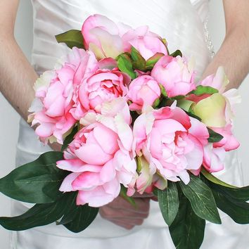 "Silk Peony Bouquet in Two Tone Pink13.5"" Tall"