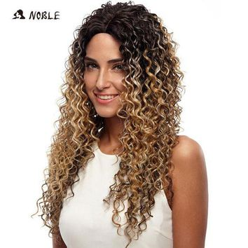 ESBG8W Noble Wigs For Black Women Deep Wave Lace Front Wigs Synthetic Hair 30 Inch Ombre Color Heat Resistant Cosplay Wig Free Shipping
