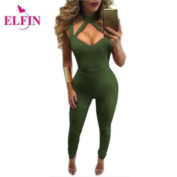 Women Jumpsuit Rompers Sleeveless Lace Up Jumpsuits Skinny Bodysuit Bandage Slim Femme Overall Jumpsuits  LJ8329R