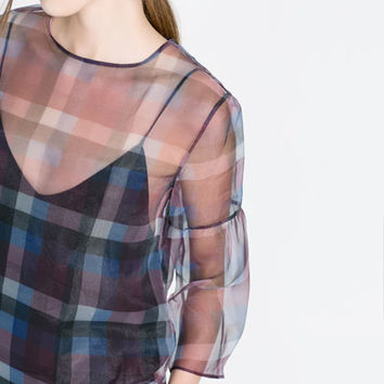 CHECKED ORGANZA BLOUSE - Shirts - Woman | ZARA United States