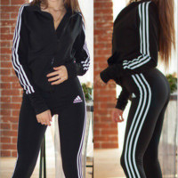 Adidas New fashion leisure sports suit for women top and pants stripe suit Black