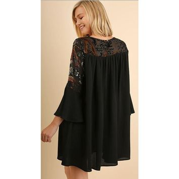 Umgee Bell Sleeve Shift Dress with Floral Velvet Yoke and Gathered Details