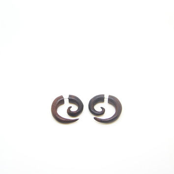 Faux Gauge Earring, Small Spiral Earring Fake Gauge Wood Fake Piercing Gauges W008-02