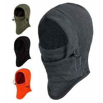 Emei 6 in 1 Thermal Fleece Balaclava Outdoor Ski Masks Bike Cyling Beanies Winter Wind Stopper Face Hats