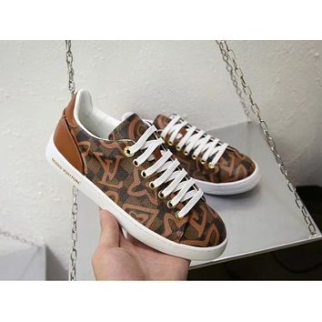 LV Louis Vuitton 2018 counter limited edition printing chess women casual shoes F-ALS-XZ Coffee