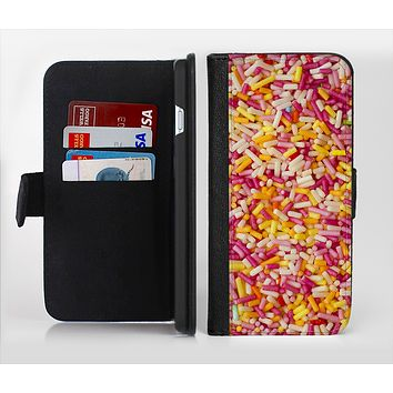The Orange and Pink Candy Sprinkles Ink-Fuzed Leather Folding Wallet Credit-Card Case for the Apple iPhone 6/6s, 6/6s Plus, 5/5s and 5c