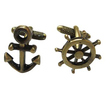 Brass Toned Nautical Anchor and Helm Cufflinks