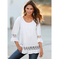 Women's Trending Popular Fashion 2016 Summer Lace White T-Shirt  _ 3757