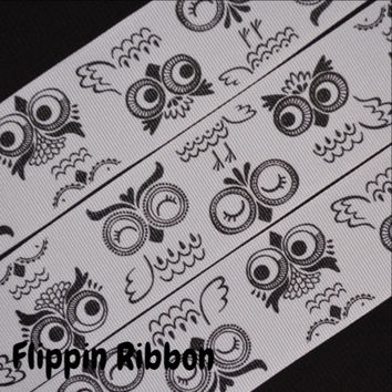 Black and White Owls Ribbon, 3 Yards, 1 1/2 inch Grosgrain