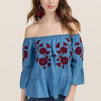 Coleen Embroidered Off The Shoulder Top