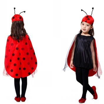 2017 Hot Animal Ladybug Children Costume Halloween Costume Kids Fancy Red Ladybug Costume Suitable For 95-130CM