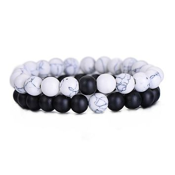 Couples Natural Stone Distance Bracelet