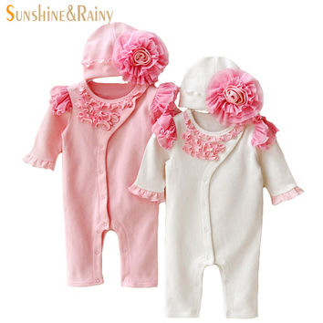Newborn Clothing Sets Baby Girl Clothes Kids Birthday Dress Girls Lace Flower Rompers+Hats Princess Infant bebe Jumpsuit Gifts