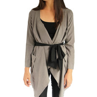 Drape Trench with Ribbon Tie