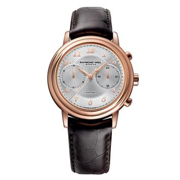 Men's Raymond Weil Maestro Automatic Chronograph Leather Strap Watch