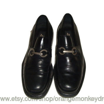 vintage HUSH PUPPIES leather black brogues loafers shoes buckle hipster  MEN size 8 women size 10 us 41