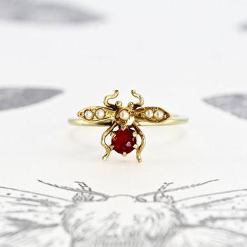 Victorian Ruby and Pearl Bug Ring, 14k Yellow Gold Antique Insect Bee Fly Bohemian Bri