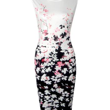 Streetstyle  Casual Round Neck Floral Printed Sleeveless Bodycon Dress