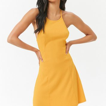 Ribbed Halter Swing Dress