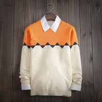 Men's Geometry Color Matching Sweater